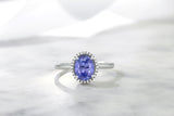 10K White Gold Diamond & Oval Blue Tanzanite Women's Ring 1.16 Cttw)