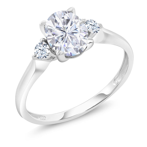 10K White Gold Ring Forever Classic Oval Created Moissanite 1.50ct DEW