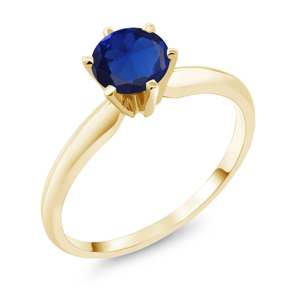 0.75 Ct  Blue Simulated Sapphire 14K Yellow Gold Engagement Solitaire Ring (Available in size 5, 6, 7, 8, 9)