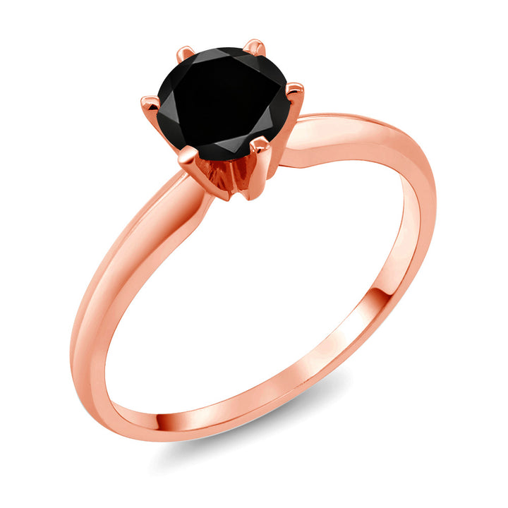 Gem Stone King 1.05 Ct Round Black Diamond 14K Rose Gold Ring