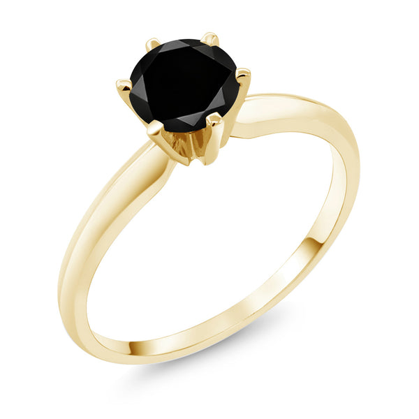 1.05 Ct Black Diamond 14K Yellow Gold Engagement Solitaire Ring