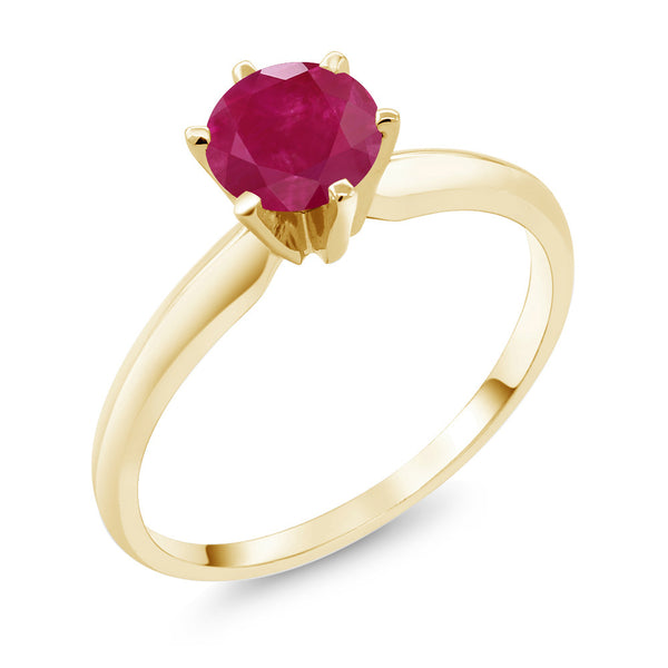 1.00 Ct Red Ruby 14K Yellow Gold Engagement Solitaire Ring