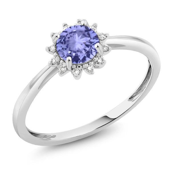 Gem Stone King 10K White Gold 0.46 Ct Round Blue Tanzanite and Diamond Engagement Ring (Available 5,6,7,8,9)