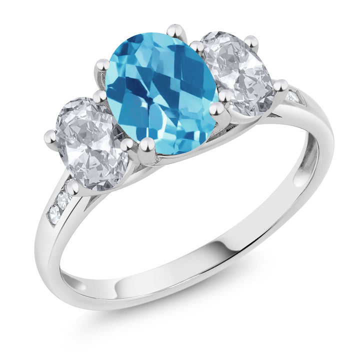 Gem Stone King 10K White Gold Diamond Accent Checkerboard Swiss Blue Topaz White Topaz 3-Stone Ring 2.30 Ct (Available 5,6,7,8,9)