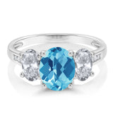 10K White Gold 2.30 Ct Checkerboard Swiss Blue Topaz White Topaz 3-Stone Ring