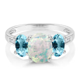 10K White Gold Diamond Ring Simulated Opal Set with Blue Topaz from Swarovski
