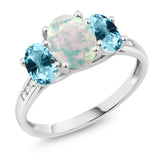 10K White Gold Diamond Accent Simulated Opal Set with Topaz from Swarovski 3-Stone Ring 2.05 Ct (Available 5,6,7,8,9)