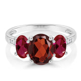 10K White Gold 2.20 Ct Oval Red Garnet Red Created Ruby 3-Stone Ring