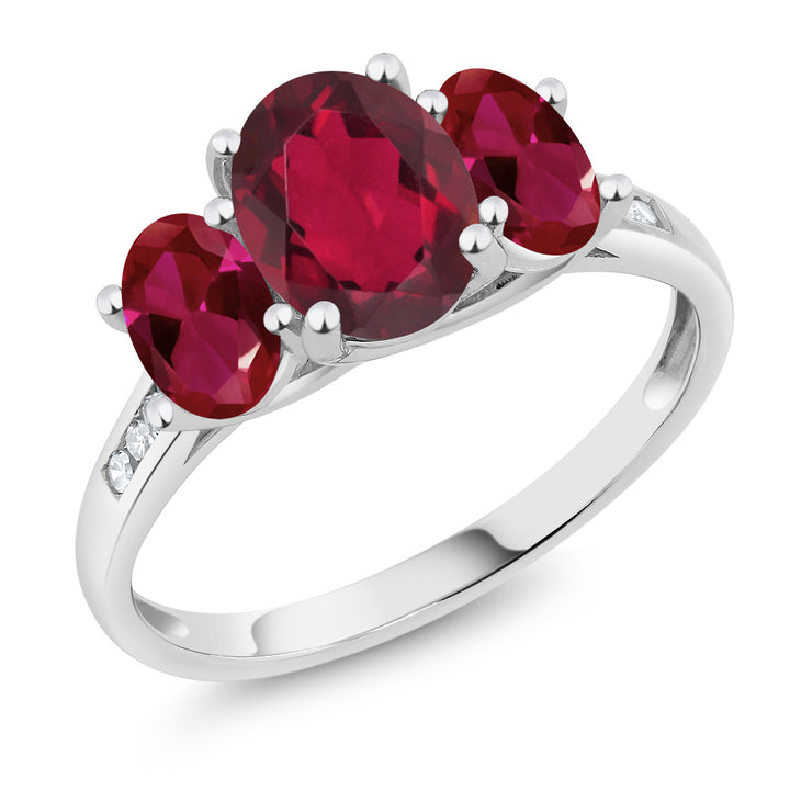 Gem Stone King 10K White Gold Diamond Accent Oval Red Mystic Topaz Red Created Ruby 3-Stone Ring 2.30 Ct (Available 5,6,7,8,9)