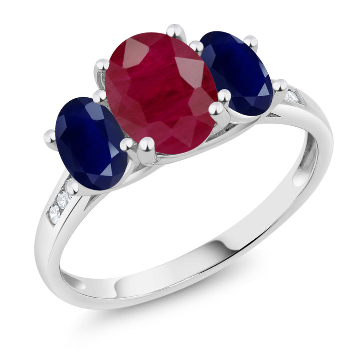 Gem Stone King 10K White Gold Diamond Accent Oval Red Ruby Blue Sapphire 3-Stone Ring 2.70 Ct (Available 5,6,7,8,9)