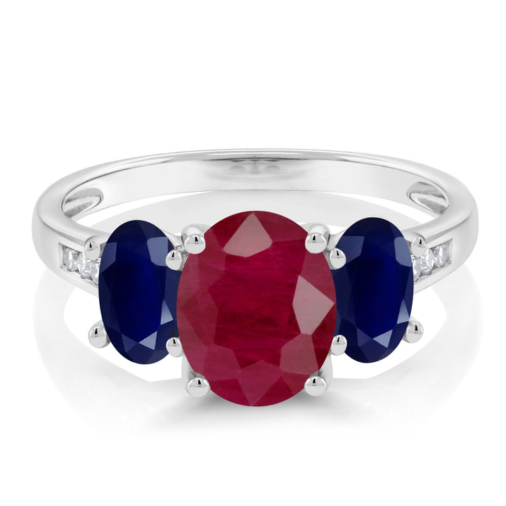 10K White Gold 2.70 Ct Oval Red Ruby Blue Sapphire 3-Stone Ring