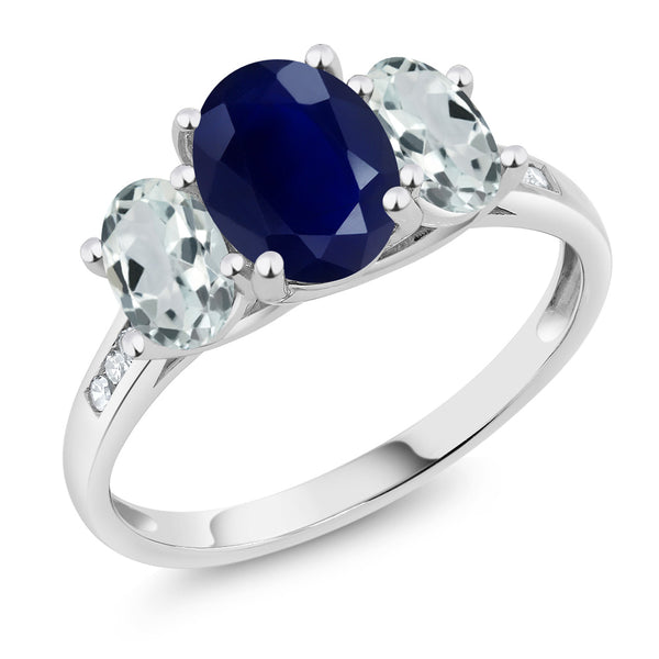 10K White Gold 2.65 Ct Oval Blue Sapphire Sky Blue Aquamarine 3-Stone Ring