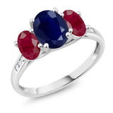 Gem Stone King 10K White Gold Diamond Accent Oval Blue Sapphire Red Ruby 3-Stone Ring 2.99 Ct (Available 5,6,7,8,9)