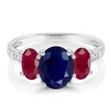 10K White Gold 2.99 Ct Oval Blue Sapphire Red Ruby 3-Stone Ring