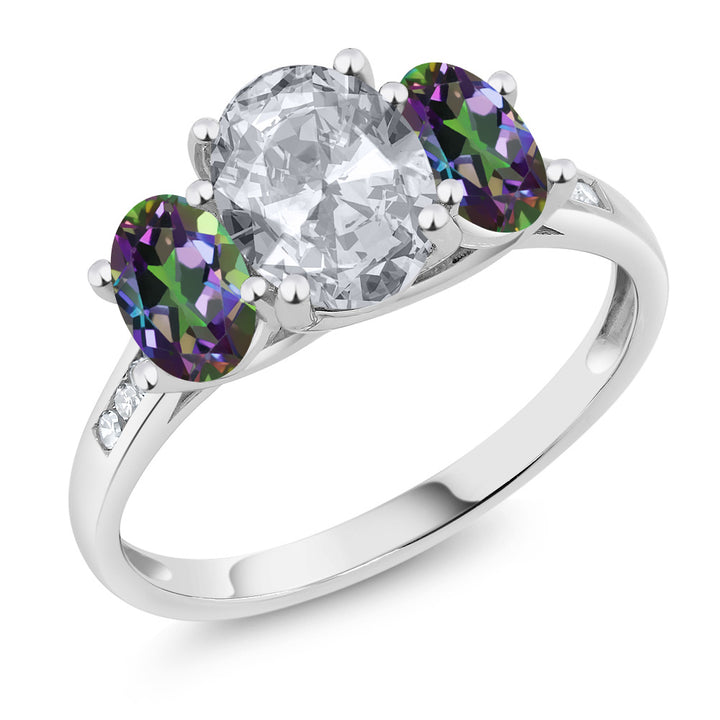 Gem Stone King 10K White Gold Diamond Accent Oval White Topaz Green Mystic Topaz 3-Stone Ring 2.30 Ct (Available 5,6,7,8,9)