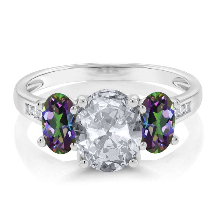 10K White Gold 2.30 Ct Oval White Topaz Green Mystic Topaz 3-Stone Ring