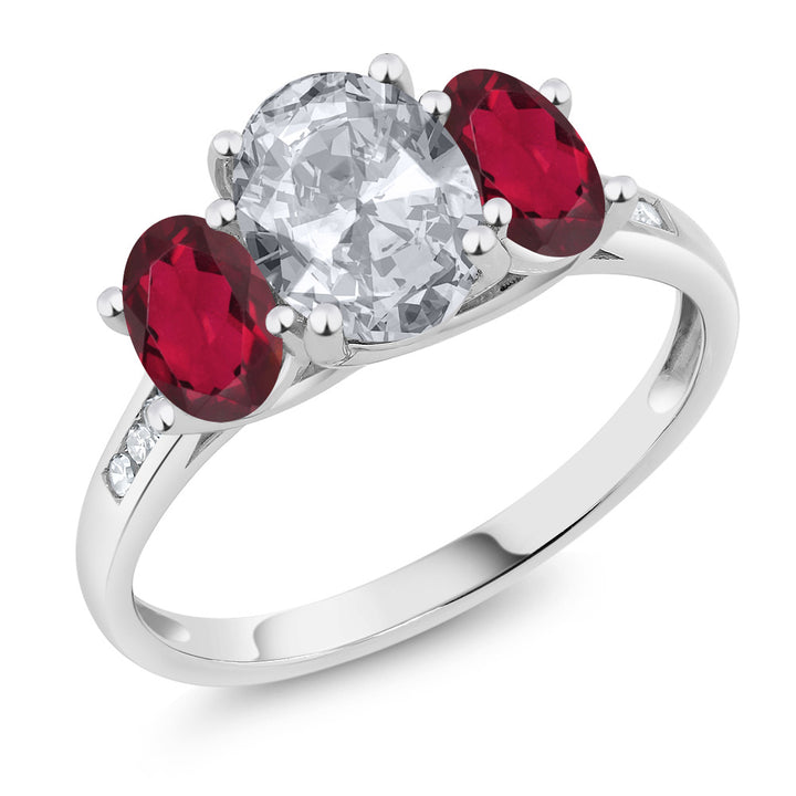 Gem Stone King 10K White Gold Diamond Accent Oval White Topaz Red Mystic Topaz 3-Stone Ring 2.30 Ct (Available 5,6,7,8,9)