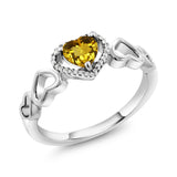 Gem Stone King 10K White Gold 0.66 Ct Heart Shape Yellow Citrine with Diamond Accent Engagement Ring