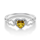 10K White Gold 0.66 Ct Heart Shape Yellow Citrine with Diamond Accent Ring