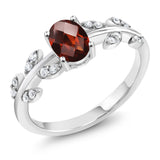 Gem Stone King 0.91 Ct Oval Checkerboard Red Garnet and Diamond 10K White Gold Olive Vine Ring