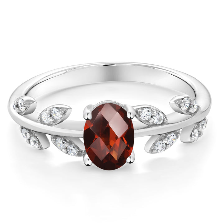 0.91 Ct Oval Checkerboard Red Garnet and Diamond 10K White Gold Olive Vine Ring