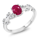 Gem Stone King Red Ruby & White Diamond 10K White Gold Olive Vine Ring 1.13 Ct Oval (Available 5,6,7,8,9)