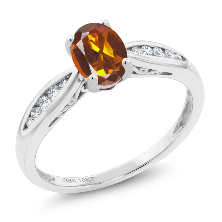 Gem Stone King 10K White Gold 0.77 Ct Orange Red Madeira Citrine and Diamond Engagement Ring (Available 5,6,7,8,9)