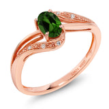 Gem Stone King 10K Rose Gold 0.49 Ct Green Chrome Diopside and Diamond Engagement Ring