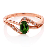 10K Rose Gold 0.49 Ct Green Chrome Diopside and Diamond Engagement Bypass Ring