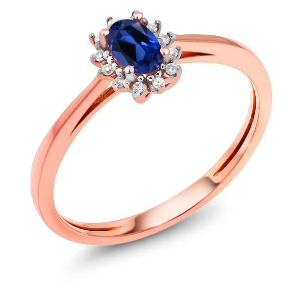 775345fde 18K Rose Gold 0.48Ct Blue Simulated Sapphire with Diamond Accent Engagement  Ring