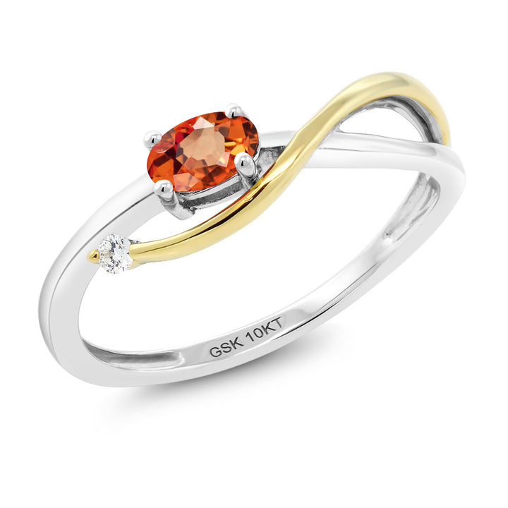 Gem Stone King 10K Two-Tone Gold 0.29 Ct Orange Sapphire and Diamond Engagement Ring