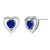 10K White Gold 1.10Ct Blue Simulated Sapphire White Diamond Heart Shape Earrings