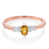 14K Two Tone Gold 0.21 Ct Yellow Citrine and Diamond Engagement Ring