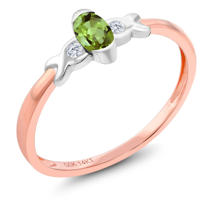 Gem Stone King 14K Two Tone Gold 0.27 Ct Green Peridot and Diamond Engagement Ring