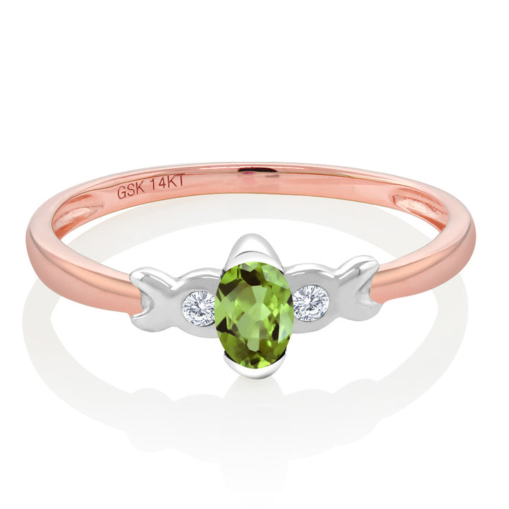 14K Two Tone Gold 0.27 Ct Green Peridot and Diamond Engagement Ring