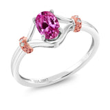 Gem Stone King 10K Two Tone Gold 0.53 Ct Oval Pink Created Sapphire and Diamond Engagement Ring