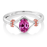10K Two Tone Gold 0.53 Ct Oval Pink Created Sapphire and Diamond Engagement Ring