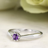 18K White Gold 0.15 Ct Round Purple Amethyst Solitaire Engagement Ring