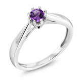 Gem Stone King 18K White Gold 0.15 Ct Round Purple Amethyst Solitaire Engagement Ring