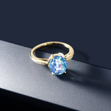 14K Yellow Gold 2.74 Ct Oval Millennium Blue Mystic Quartz and Diamond Ring