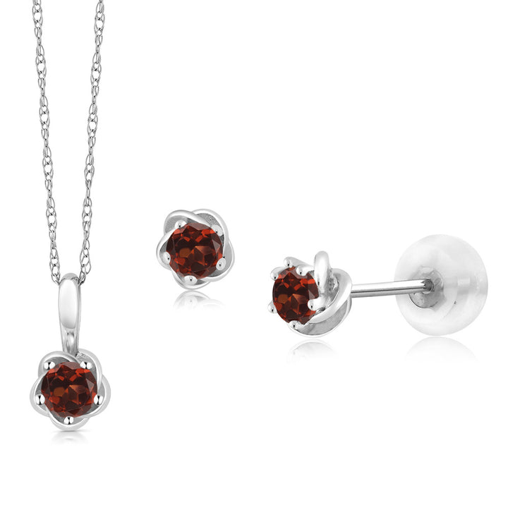 Gem Stone King 10K White Gold 0.44 Ct Round Red Garnet Pendant Earrings Set with Chain