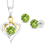 Gem Stone King 10K Two Tone Gold 2.20 Ct Round Green Peridot Pendant Earrings Set