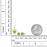 10K Two Tone Gold 2.20 Ct Round Green Peridot Pendant Earrings Set