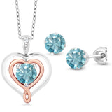 925 Silver and 10K Rose Gold 2.56 Ct Blue Zircon Diamond Pendant Earrings Set