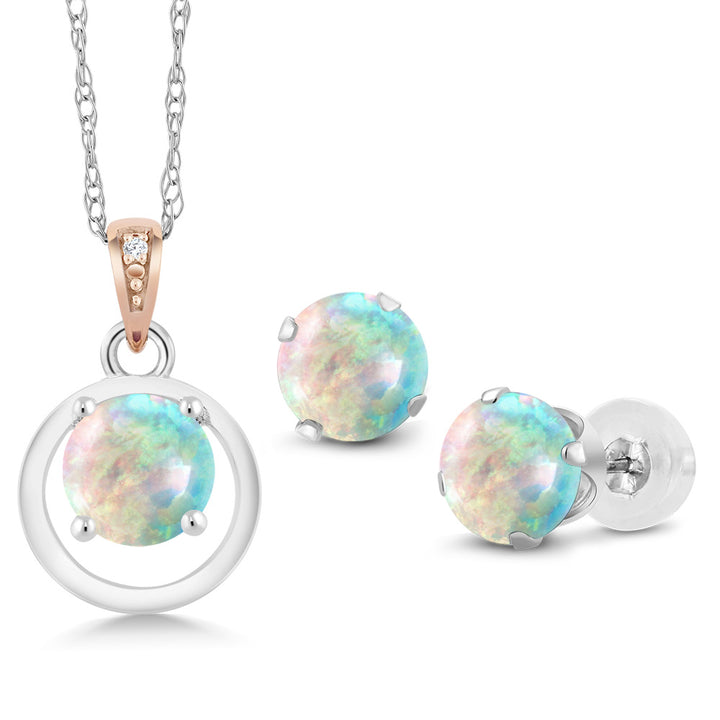 Gem Stone King 925 Silver & 10K Rose Gold Cabochon Simulated Opal Diamond Pendant Earrings Set