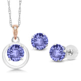 Gem Stone King 925 Silver & 10K Rose Gold 2.71 Ct Tanzanite Diamond Accent Pendant Earrings Set