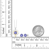 10K Two Tone Gold 2.27 Ct Blue Tanzanite and Diamond Pendant Earrings Set