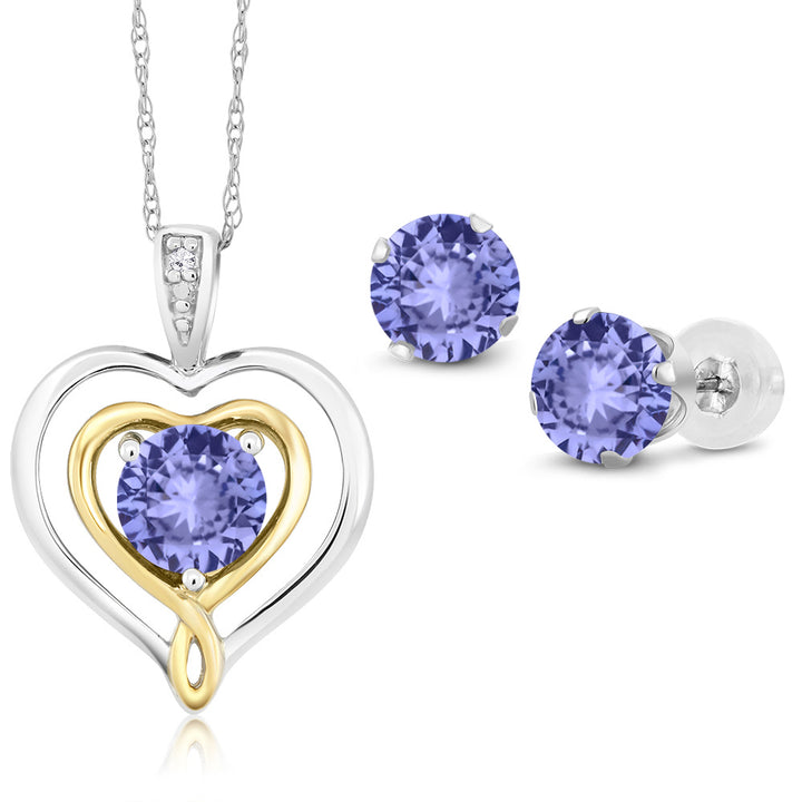 Gem Stone King 10K 2 Tone Gold 2.27 Ct Blue Tanzanite and Diamond Pendant Earrings Set