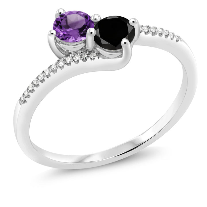 "Gem Stone King 10K White Gold ""Forever United"" Two-stone Diamond Right-hand Engagement Birthstone Ring Round Purple Amethyst Black (0.68 cttw)"