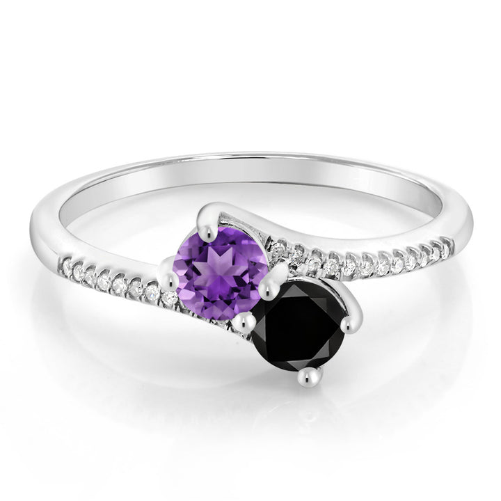 0.68 Ct Round Purple Amethyst Black Diamond 10K White Gold Ring